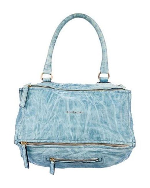 8ce35b4a06 Givenchy - Metallic Leather Pandora Bag Blue - Lyst ...