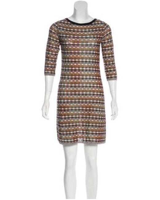 M Missoni Brown Patterned Sweater Dress Lyst