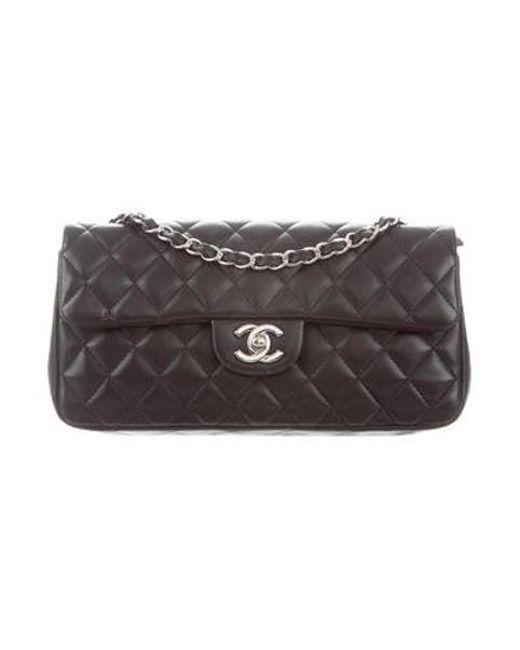 df580180b36d7a Chanel - Metallic E/w Flap Bag Black - Lyst ...