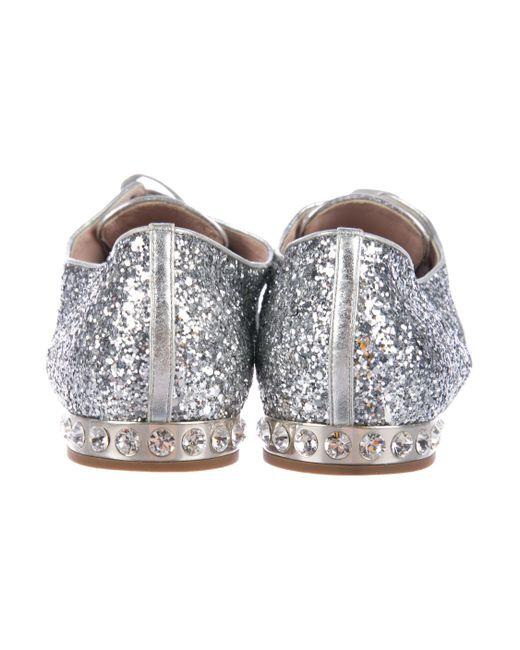 70331c11173d ... Miu Miu - Metallic Miu Glitter Round-toe Oxfords Silver - Lyst ...