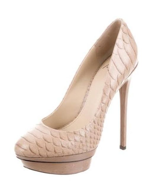 3495d2863920 Brian Atwood - Natural Embossed Platform Pumps Tan - Lyst ...