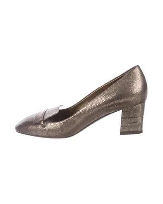 d8b2e622a481 Lanvin - Metallic Embossed Round-toe Pumps Bronze - Lyst ...