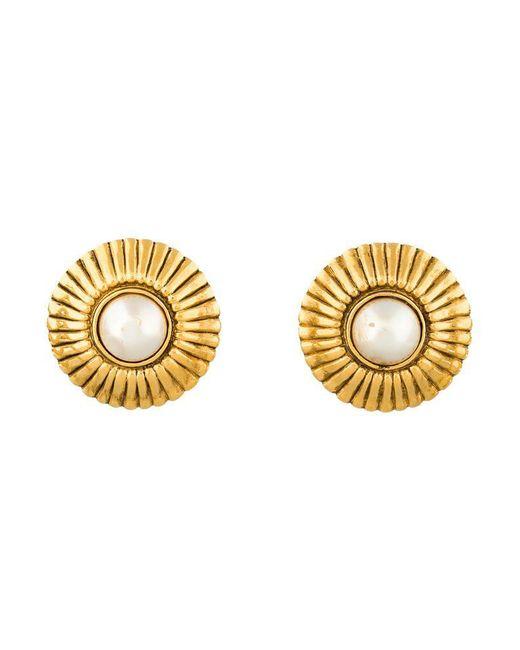 Chanel | Metallic Pearl Medallion Earrings Gold | Lyst
