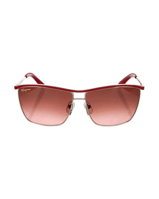 02f0437bd38 Ferragamo - Metallic Leather-trimmed Tinted Sunglasses Red - Lyst ...