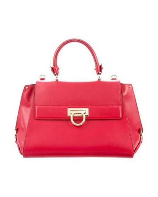 542637dbbf2 Ferragamo - Metallic Medium Sophia Satchel Red - Lyst ...