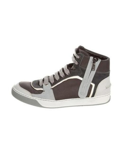 7f95649029712 Lanvin - Gray Zip Accent High-top Sneakers Olive for Men - Lyst ...