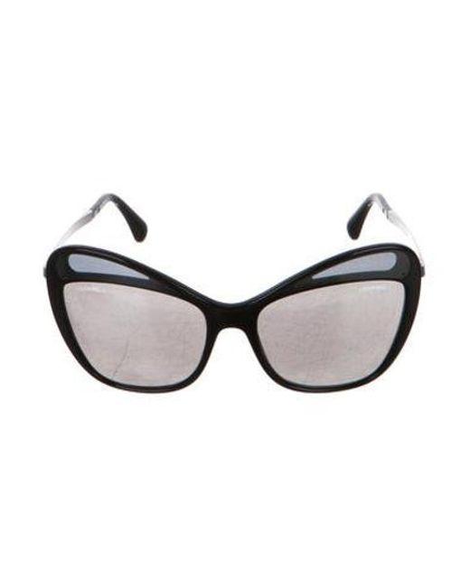 61f3b1a7a233 Chanel - Metallic Reflective Butterfly Sunglasses Black - Lyst ...