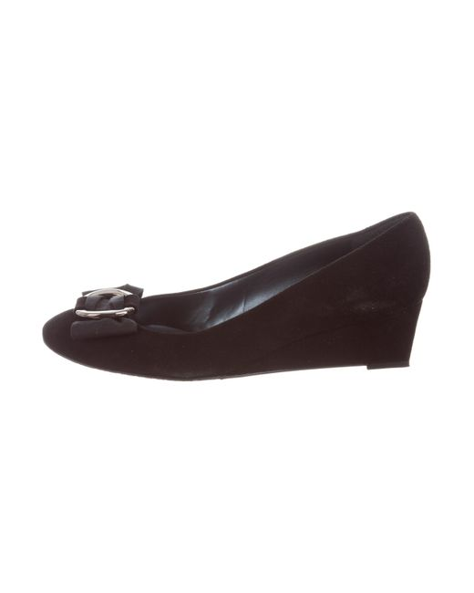 buy sale online Stuart Weitzman Suede Round-Toe Wedges pre order cheap online clearance store cheap price free shipping with mastercard 8FjgJ2