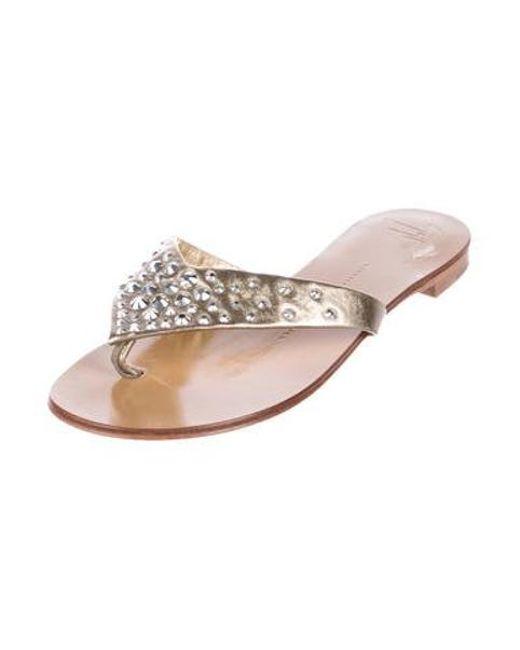 cf802b6515a2f ... Giuseppe Zanotti - Metallic Embellished Leather Sandals Gold - Lyst ...