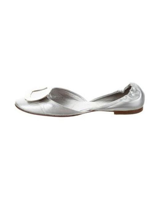88920c4780f Roger Vivier - Metallic Leather D orsay Flats Silver - Lyst ...