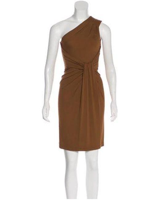 7ef5d5a5eba1 Michael Kors - Brown One-shoulder Mini Dress - Lyst ...