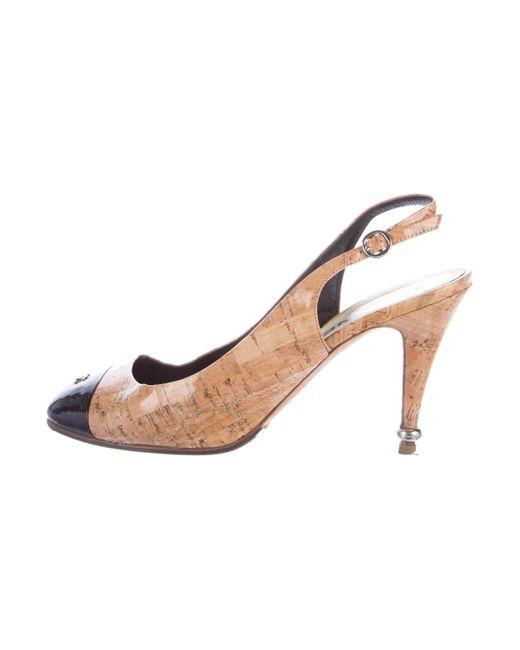Chanel | Metallic Cap-toe Cc Pumps Tan | Lyst