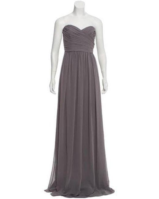 Monique Lhuillier Bridesmaids - Green Strapless Chiffon Evening Dress - Lyst