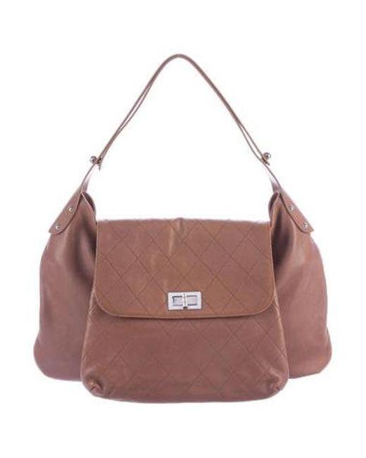 76b4cde13501 Chanel - Metallic Weekenders Pocket Hobo Brown - Lyst ...