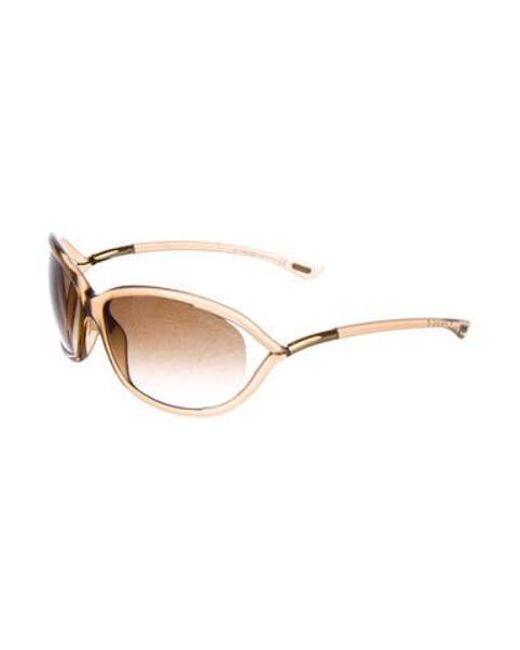3f55d842be ... Tom Ford - Metallic Jennifer Oval Sunglasses Brown - Lyst ...