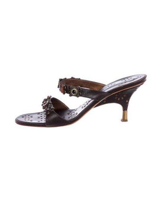 59ce7a709c0 Giuseppe Zanotti - Brown Leather Slide Sandals - Lyst ...