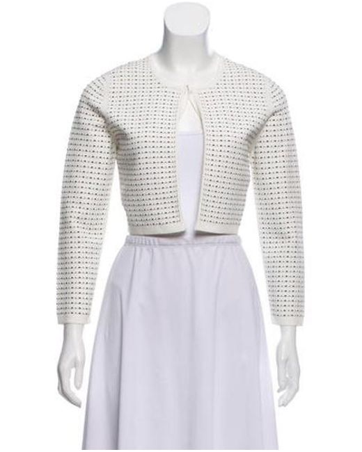 c4d18c65e4 Narciso Rodriguez - White Patterned Knit Cardigan - Lyst ...