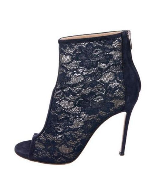 ... f4cd8 7ffb5 Gianvito Rossi - Blue Lace Peep-toe Booties Navy - Lyst . 961536ccb5