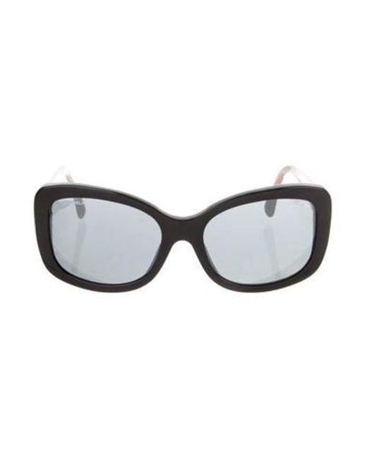 816f82ba1459 Chanel - Black Cc Shell Sunglasses - Lyst ...