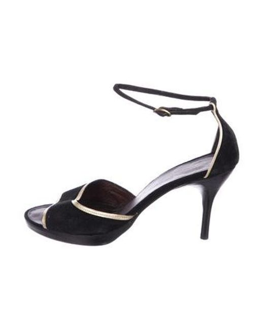 01aaa32cb510ea CoSTUME NATIONAL - Metallic Suede Ankle Strap Sandals Black - Lyst ...