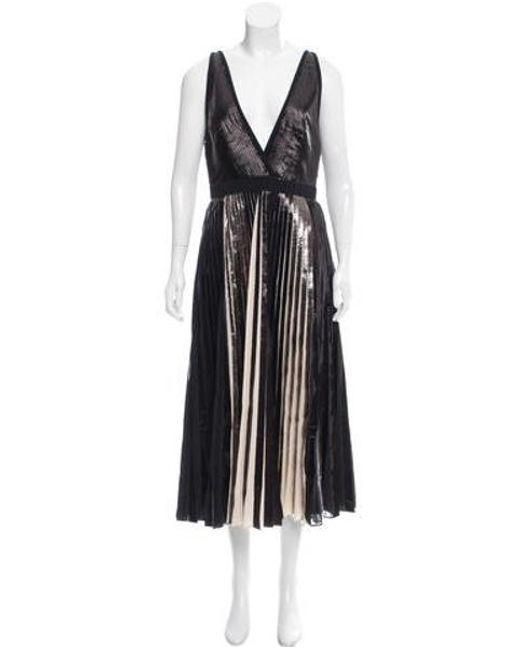 Proenza Schouler - Black Plissé Midi Dress W/ Tags - Lyst