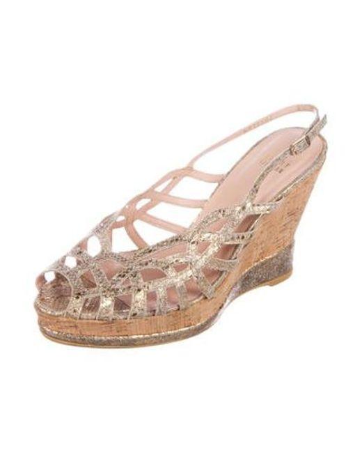 7de7765c7ead ... Stuart Weitzman - Metallic Peep-toe Wedge Sandals Gold - Lyst ...