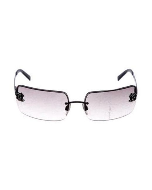 2b0e540aaa0 Chanel - Black Strass Cc Rimless Sunglasses - Lyst ...