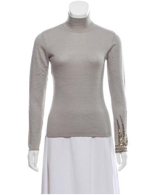 a57d4d2a7c Narciso Rodriguez - Natural Embellished Long Sleeve Sweater Neutrals - Lyst  ...