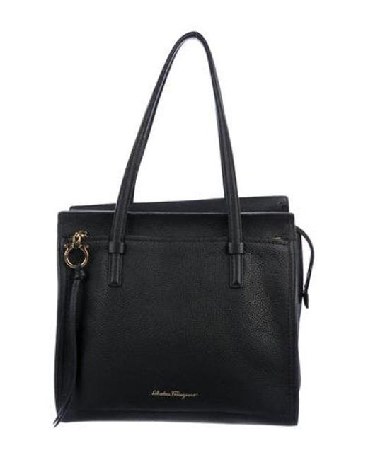 b914598a43f Ferragamo - Metallic Leather Amy Tote Black - Lyst ...