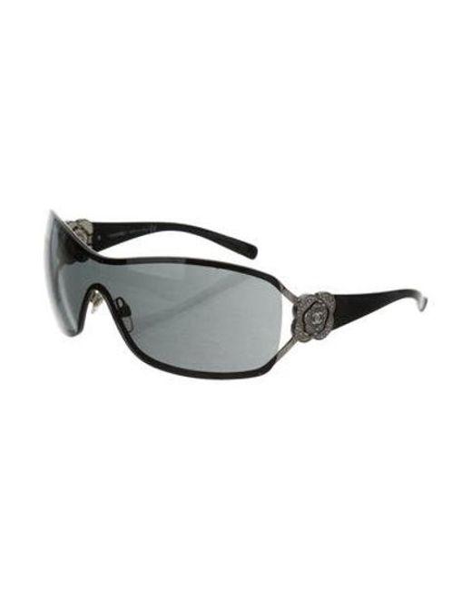 42c08c5b2788 ... Chanel - Metallic Strass Camellia Sunglasses Silver - Lyst ...