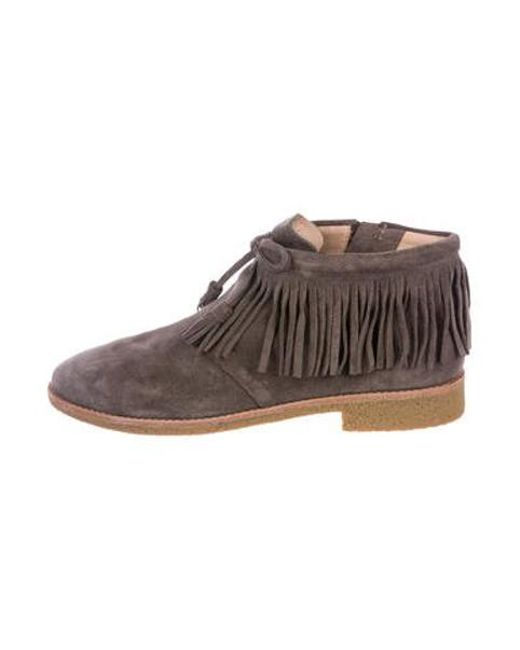 Kate Spade - Gray Suede Fringed Boots Grey - Lyst