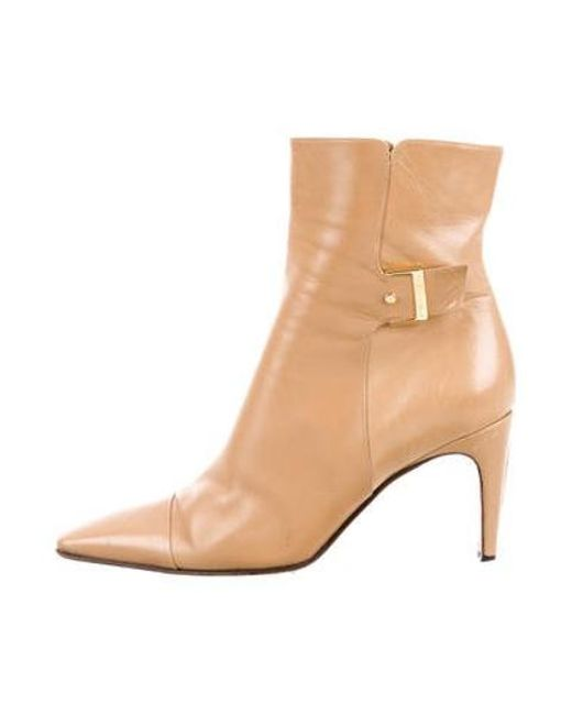 e83cfb75a2fd Chanel - Brown Leather Ankle Boots - Lyst ...