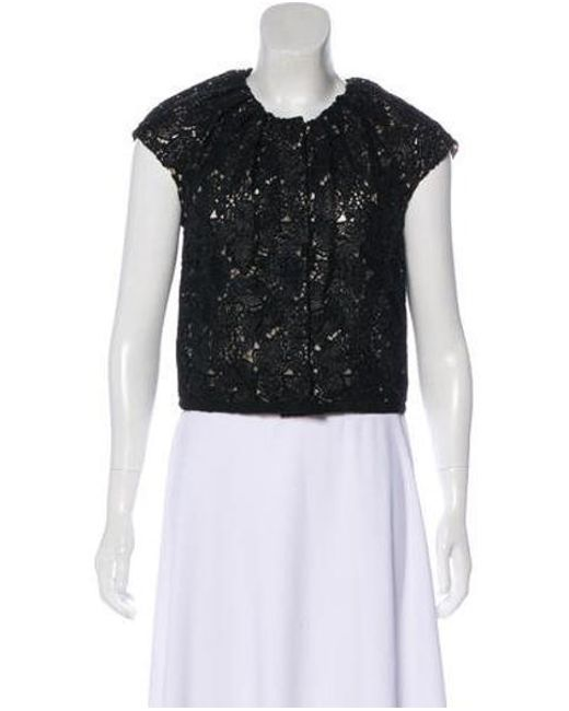 Giambattista Valli - Black Lace Short Sleeve Top - Lyst