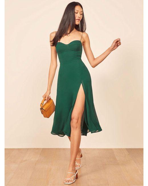 Reformation Green Juliette Dress