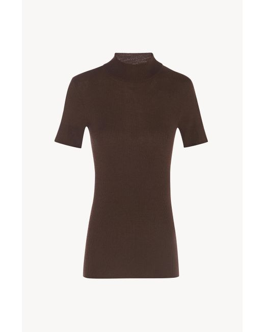 The Row Brown Ida Top In Silk And Cotton