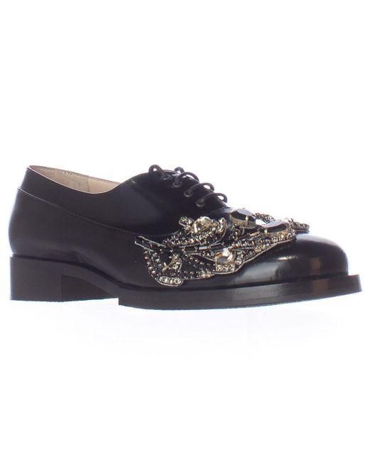 N°21 - No21 8610 Embellished Jewel Oxford Flats - Black - Lyst