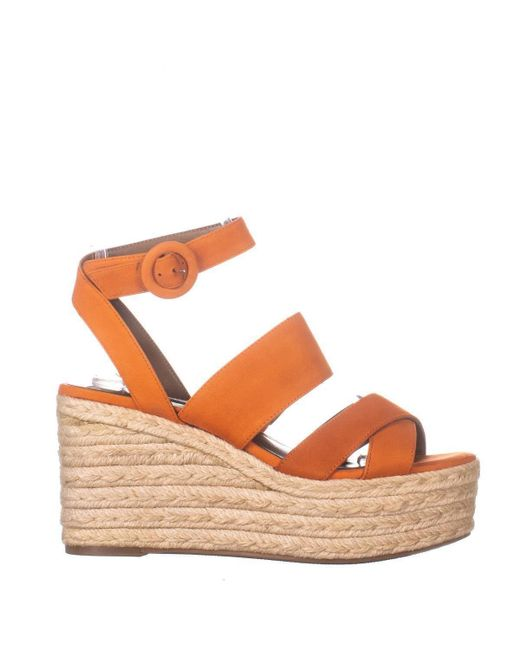 d41eed17726 Nine West Kushala Espadrilles Platform Wedge Sandals in Orange - Lyst