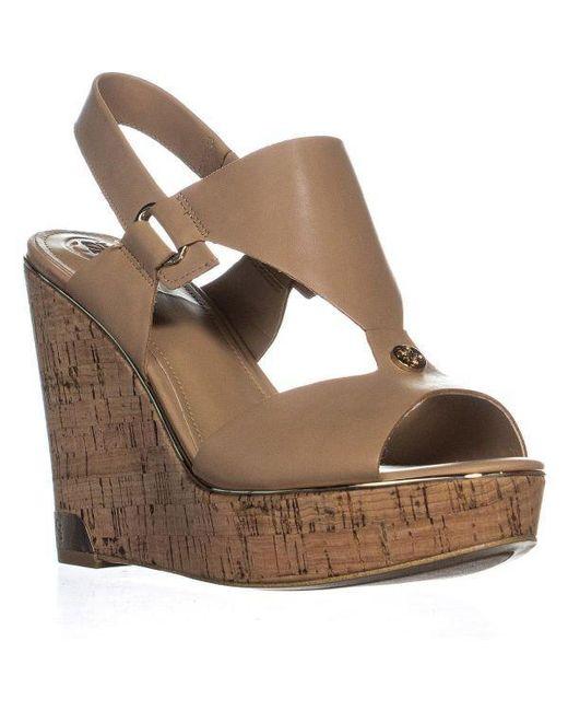 5f4c1ea61f6cbb Guess - Natural Hulda Wedge Peep Toe Sandals - Lyst ...