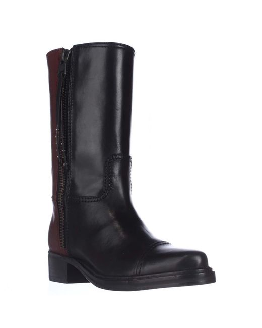 COACH - Black Short Western Mid-calf Two-tone Boots - Lyst
