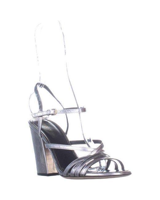 94e3ebc709bd Sergio Rossi - Metallic A77540 Strappy Block Heel Sandals - Lyst ...