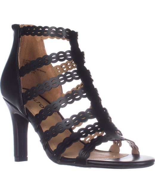 Rialto | Black Roma Strappy Zip Heel Sandals | Lyst
