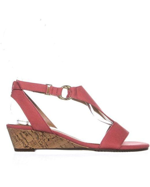 8c9954ca07a ... Aerosoles - Pink Creme Brulee Wedge Sandals - Lyst ...