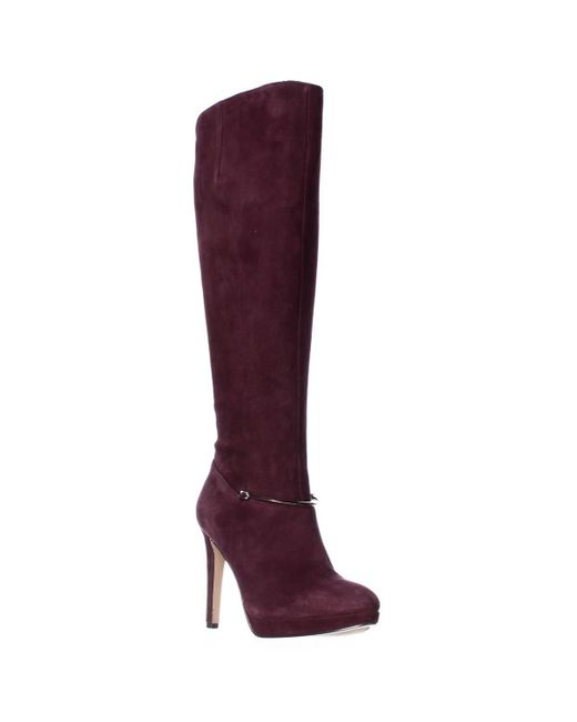 Nine West - Pearson Wide-calf Knee High Boots, Dark Red - Lyst