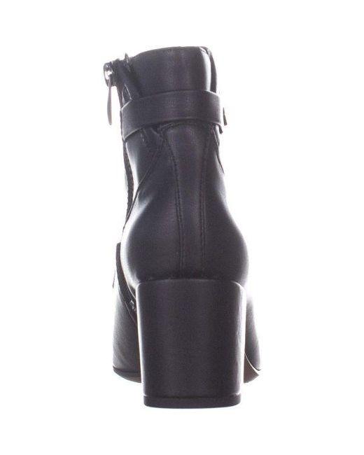 3e27256d726 ... Franco Sarto - Black Newton Zip Up Block Heel Boots - Lyst ...