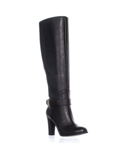618225eb8e1 Enzo Angiolini - Black Sumilo Riding Ankle Belt Knee High Boots - Lyst ...
