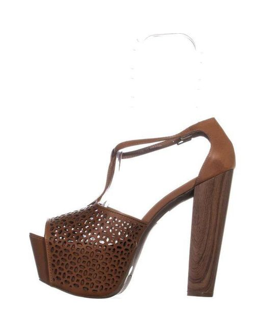 67c4e100f823 ... Jessica Simpson - Brown Dany5 T-strap Perforated Platform Sandals - Lyst  ...