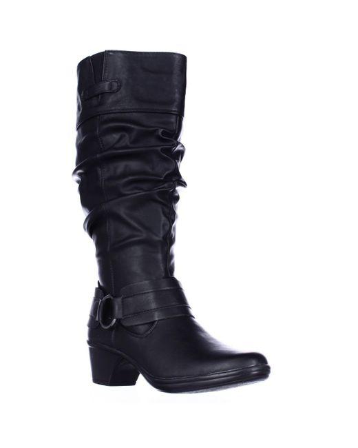 Easy Street   Black Jayda Wide Calf Slouch Boots   Lyst