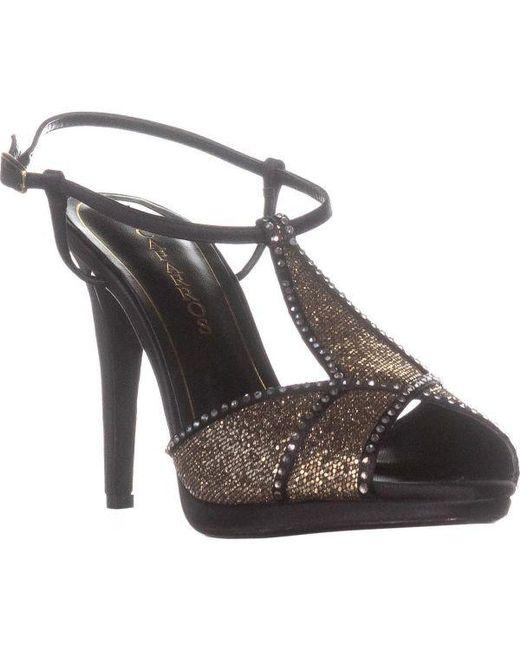 4839bbf2cc6c Lyst - Caparros Ecstasy Rhinestone T-strap Evening Sandals in Black ...