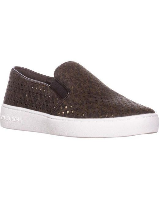f39e7377bde0 Michael Kors - Brown Michael Mk Signature Keaton Slip On Sneakers - Lyst ...