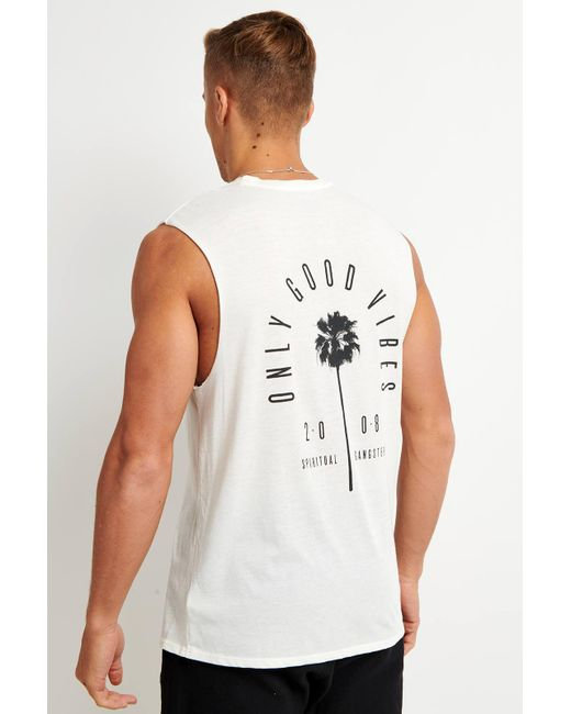 Spiritual Gangster - White Good Vibes Muscle Tank for Men - Lyst